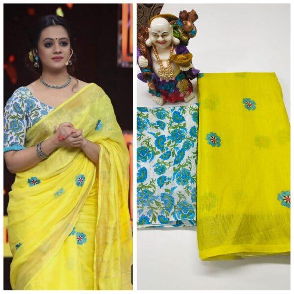 Pulchritudinous Yellow & Sky Blue Linen With Digital Print Wedding Wear Saree