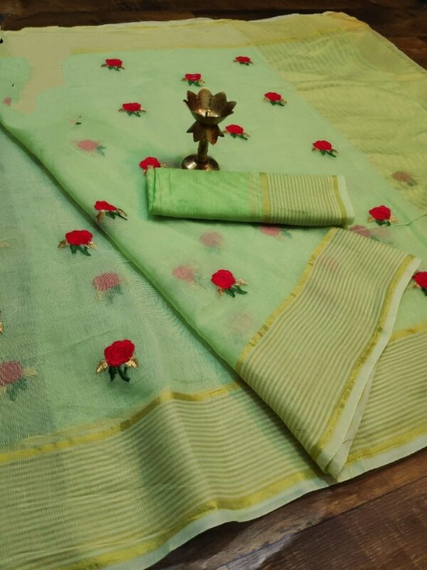 Extraordinary Green Colored Super Net with Thread Embroidered Work Saree