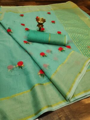 Staggering Sky Blue Colored Super Net with Thread Embroidered Work Saree