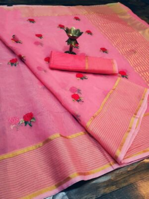 Impressive Pink Colored Super Net with Thread Embroidered Work Party Wear Saree
