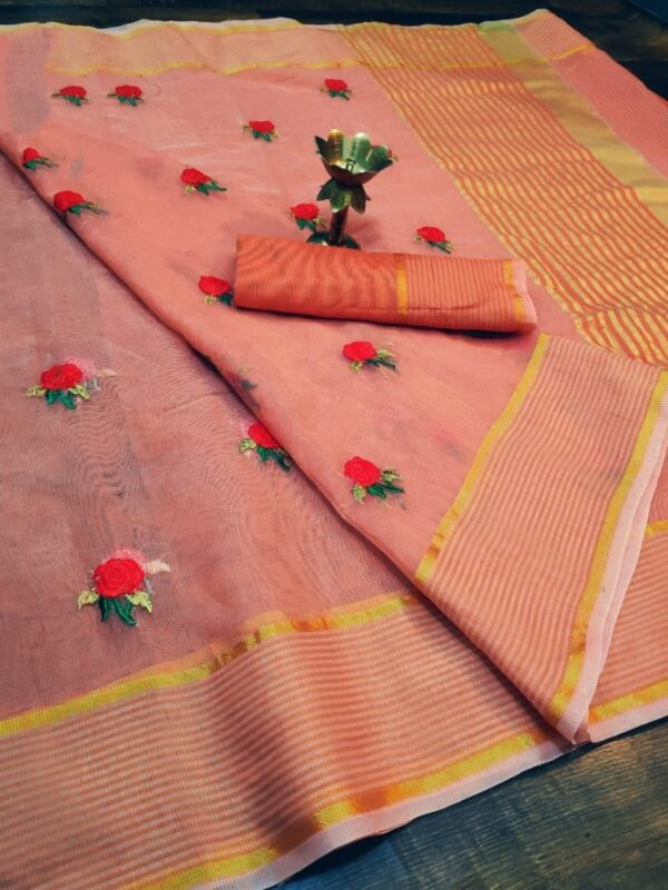 Outstanding Orange Colored Super Net with Thread Embroidered Work Party Wear Saree