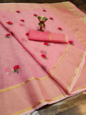 Amazing Baby Pink Colored Super Net with Thread Embroidered Work Saree
