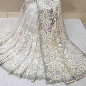 Astonishing Off White Colored Nylon Net With Heavy Embroidered Work Saree
