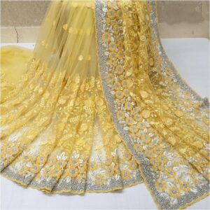 Splendid Yellow Colored Nylon Net With Heavy Embroidered Work Saree
