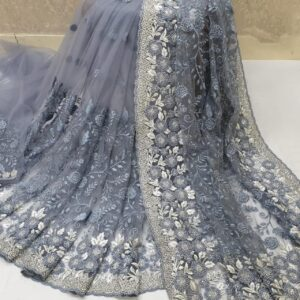 Breathtaking Grey Colored Nylon Net With Heavy Embroidered Work Saree
