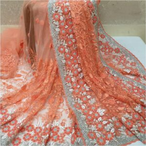 Mind-Boggling Orange Colored Nylon Net With Heavy Embroidered Work Saree
