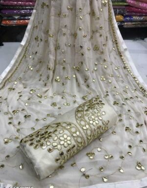 Mind-Blowing Off White Colored Semi Modal Gota Patti Work Party Wear Salwar Suit