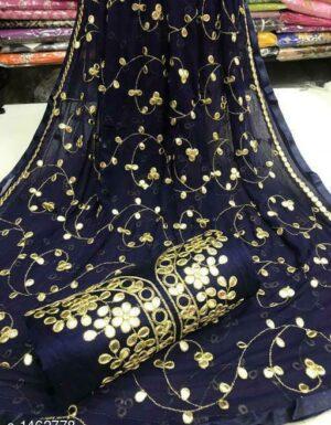 Fabulous Royal Blue Colored Semi Modal Gota Patti Work Party Wear Salwar Suit