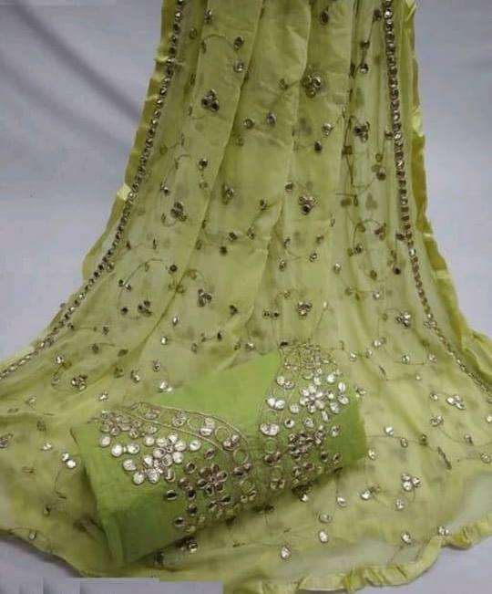 Fab Green Colored Semi Modal Gota Patti Work Party Wear Salwar Suit