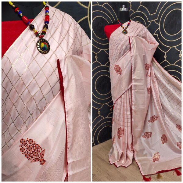 Wondrous Pink Colored Silk Full Digital Print With Foil Print Saree