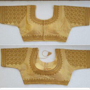 Pretty Golden Silk Handwork Thread And Coding Work Ready Made Blouse