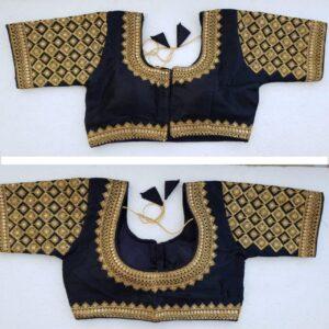 Sensational Black Silk Handwork Thread And Coding Work Ready Made Blouse