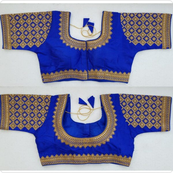 Radiant Royal Blue Silk Handwork Thread And Coding Work Ready Made Blouse