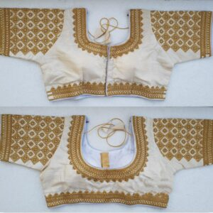 Striking Off White Silk Handwork Thread And Coding Work Ready Made Blouse