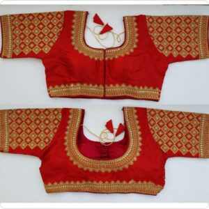 Dazzling Red Silk Handwork Thread And Coding Work Ready Made Blouse