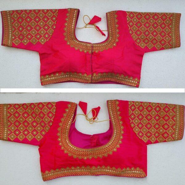 Devastating Rani Colored Silk Handwork Thread And Coding Work Ready Made Blouse