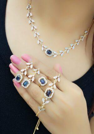 Gorgeous Blue Diamond Colored Jewellery Set