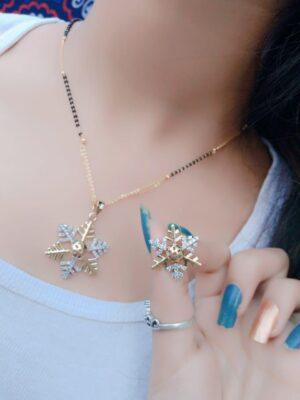 Lovely Plain Diamond Colored MangalSutra Set