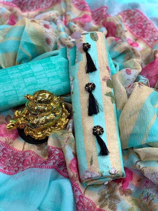 Ravishing Blue Colored PC Cotton Printed Salwar Suit