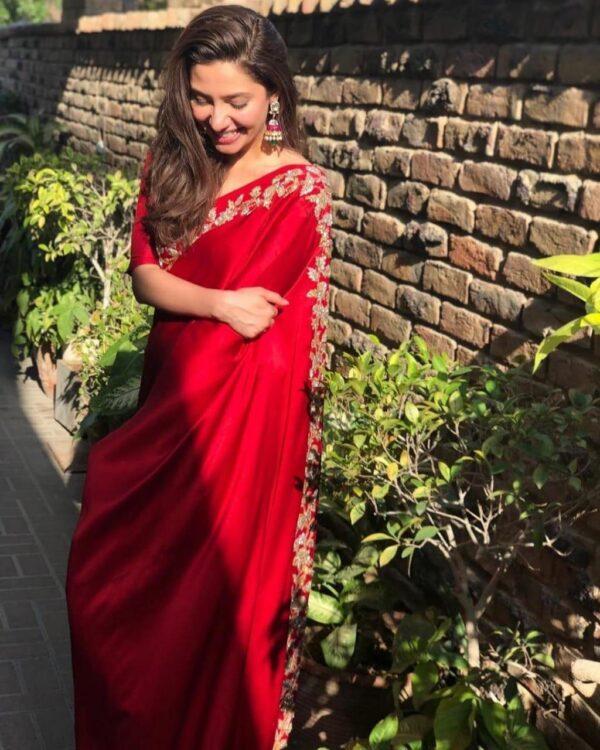 Wonderful Red Colored Silk Multi Thread Work Party Wear Saree