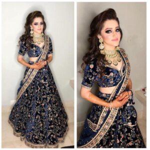 Magnificent Royal Blue Velvet Embroidered Work Designer Lehenga Choli