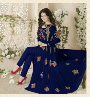 Bewitching Royal Blue Colored Georgette With Embroidered Work Salwar Suit