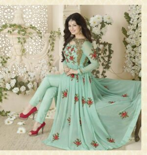 Charming Sea Green Colored Georgette With Embroidered Work Salwar Suit