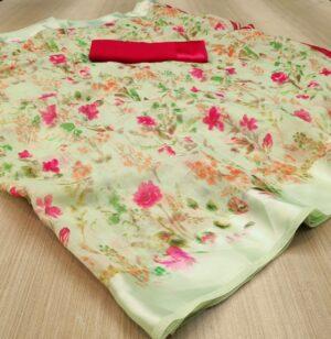 Alluring Green Colored Linen Silk Saree