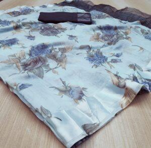 Exquisite Sky Blue Colored Linen Silk Saree