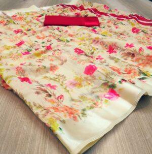 Bootylicious Yellow Colored Linen Silk Saree