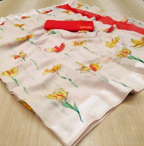 Beauteous Cream & Red Colored Linen Silk Saree