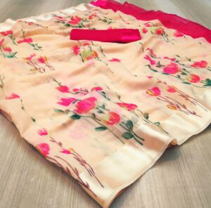 Remarkable Cream & Pink Linen Silk Saree