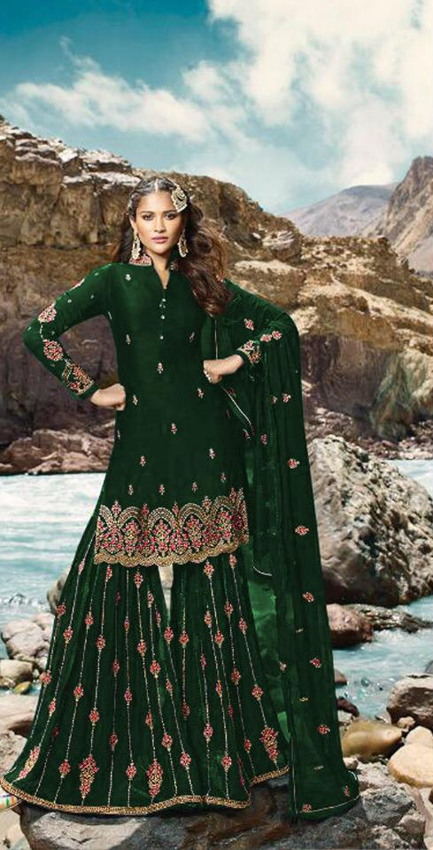 Outstanding Dark Green Colored Georgette Embroidered Stone Work Salwar Suit