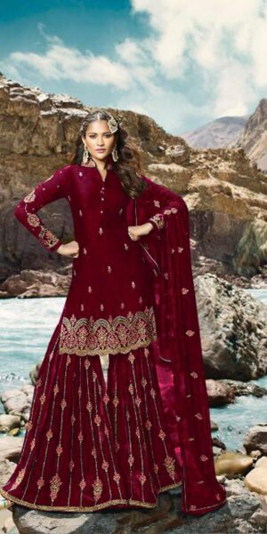 Amazing Red Colored Georgette Embroidered Stone Work Salwar Suit