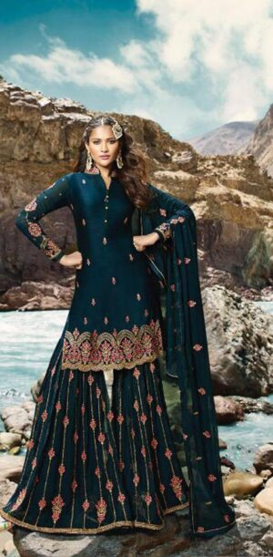 Astonishing Rama Blue Colored Georgette Embroidered Stone Work Salwar Suit
