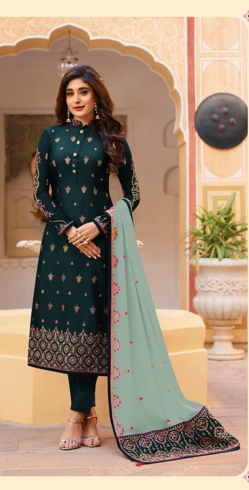 Marvellous Rama Green Silk With Embroidered Stone Work Party Wear Salwar Suit