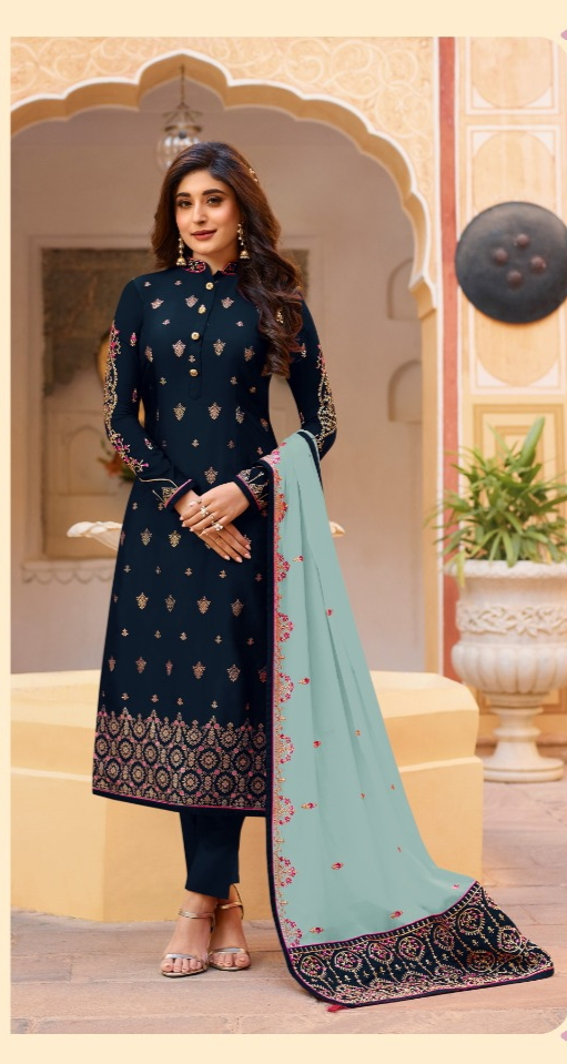Breathtaking Navy Blue Silk With Embroidered Stone Work Party Wear Salwar Suit