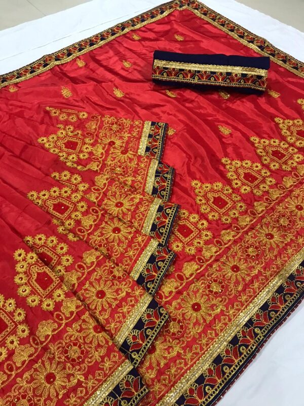 Lovely Red Colored Silk Embroidered Work Saree