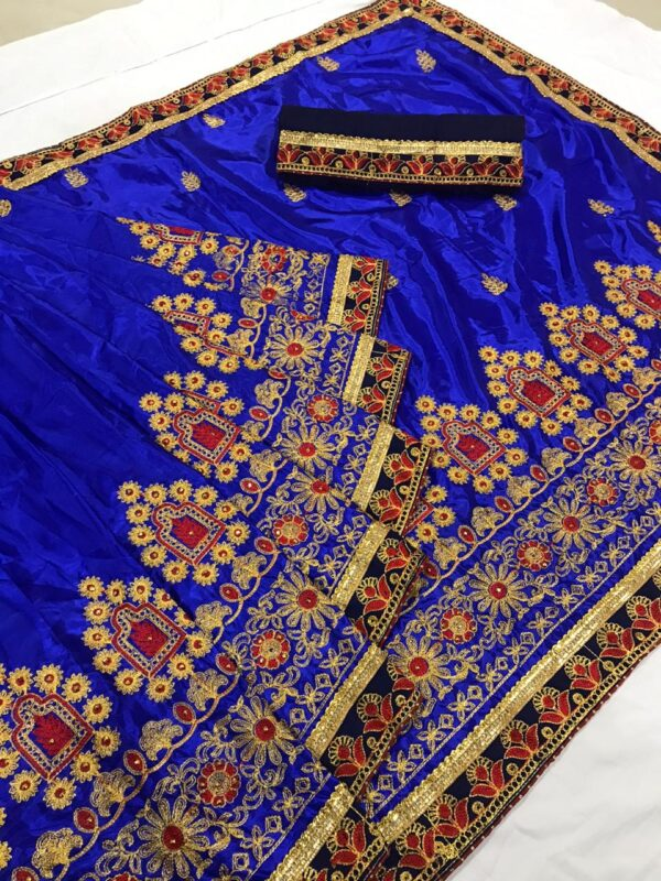 Good-Looking Royal Blue Colored Silk Embroidered Work Saree