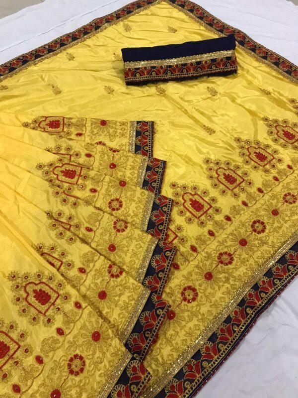 Sensational Yellow Colored Silk Embroidered Work Saree