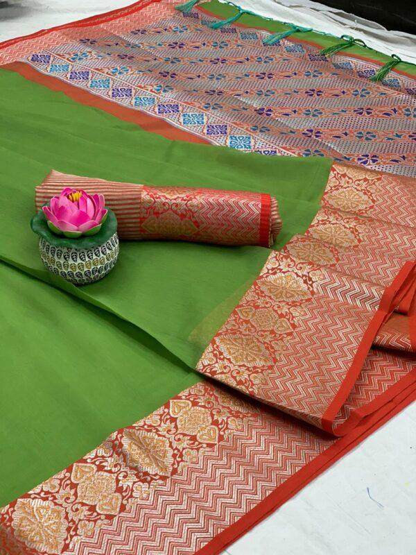 Ravishing Green Pure Cotton With Jaquard Weaving & Jalar Tassel Saree