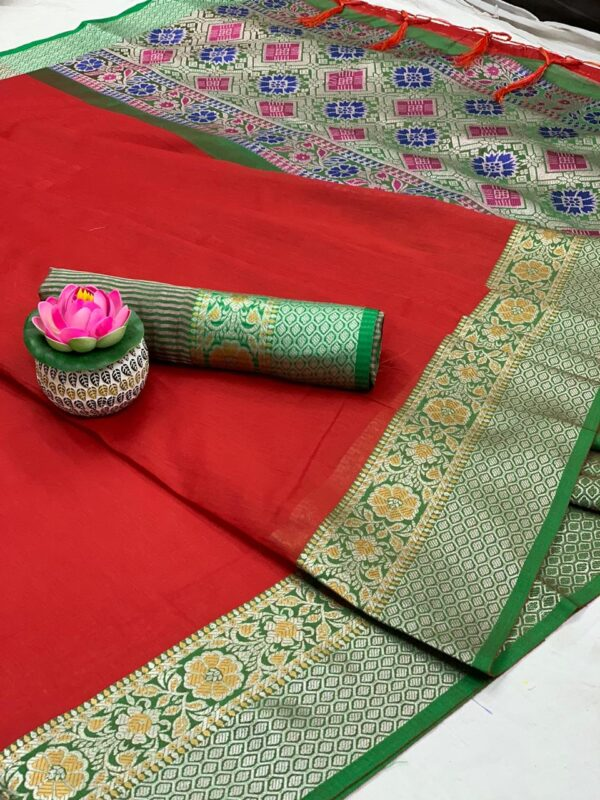 Dazzling Red Colored Pure Cotton With Jaquard Weaving & Jalar Tassel Saree