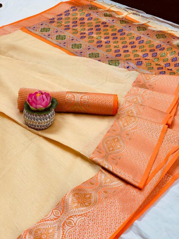Wonderful Cream Colored Pure Cotton With Jaquard Weaving & Jalar Tassel Saree