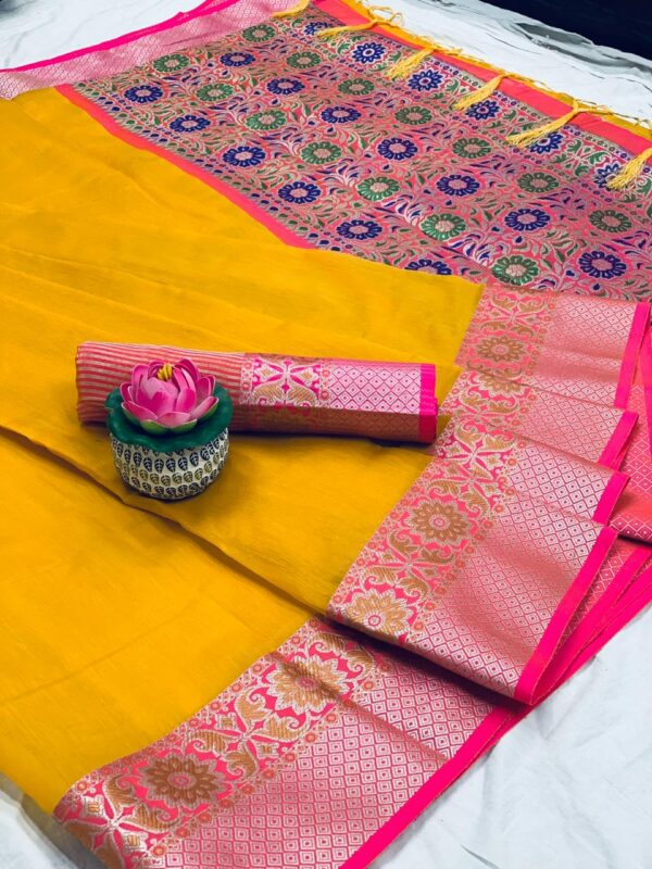 Magnificent Yellow Colored Pure Cotton With Jaquard Weaving & Jalar Tassel Saree