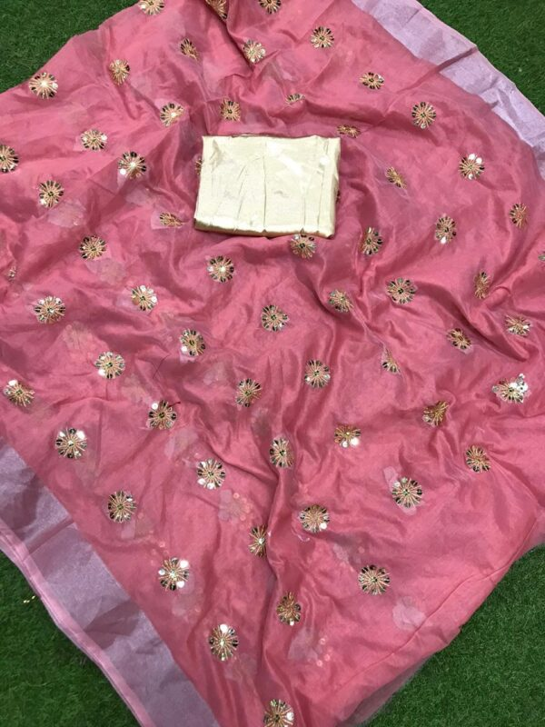 Captivating Light Pink Cotton Jari Patta With Sequence Embroidered Work Saree