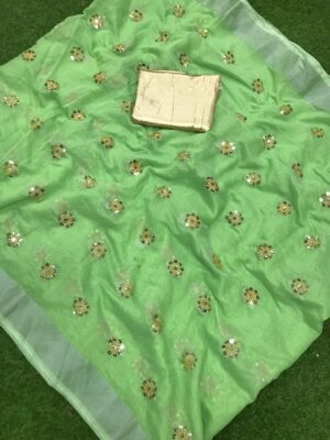 Bewitching Pista Colored Cotton Jari Patta With Sequence Embroidered Work Saree