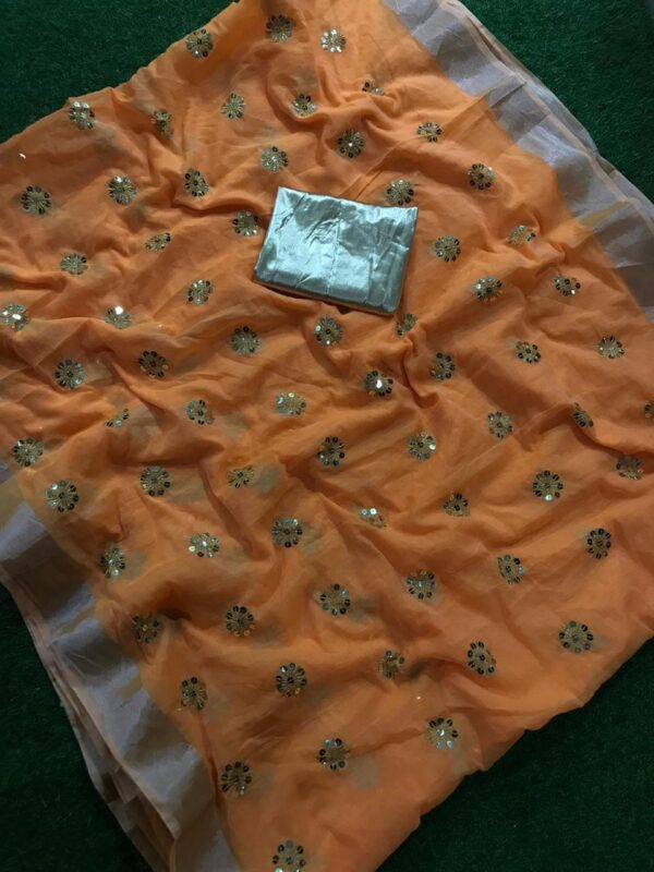 Charming Mustard Colored Cotton Jari Patta With Sequence Embroidered Work Saree