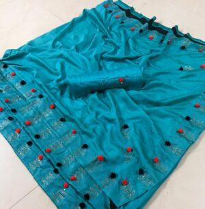 Sensational Sky Blue Georgette Hand Work designer fancy saree online
