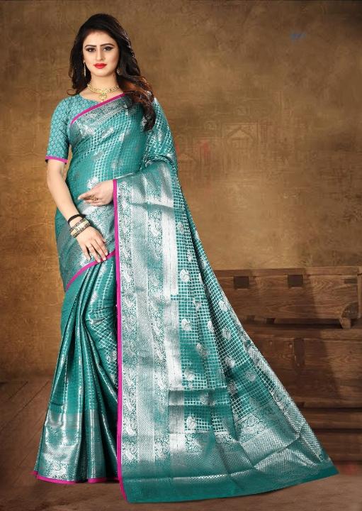 Devastating Rama Blue Kanjeevaram Silk designer fancy saree online With Contrast Pallu