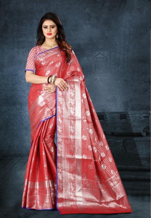 Wonderful Red Kanjeevaram Silk designer fancy saree online With Contrast Pallu
